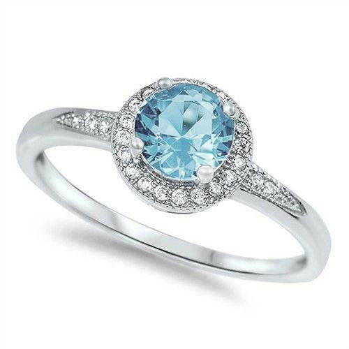 STERLING SILVER Halo Aquamarine CZ Promise Dress Ring
