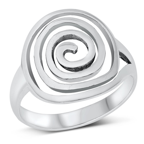 STERLING SILVER 925 Big Wide Spiral Statement Ring Plus Size
