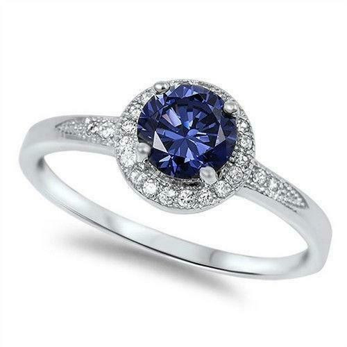 STERLING SILVER Halo Tanzanite CZ Promise Dress Ring Plus Size