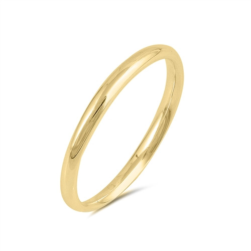 Yellow Gold over 925 Wedding Ring Comfort Plain Band 2mm