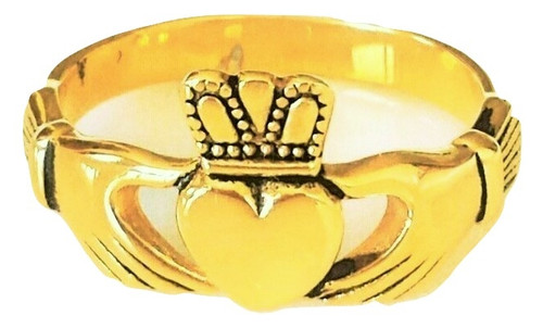 Gold Plated Celtic Irish Claddagh Hand Holding Heart Ring
