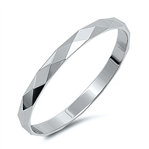 Sterling Silver Minimalist Diamond Cut Band Ring