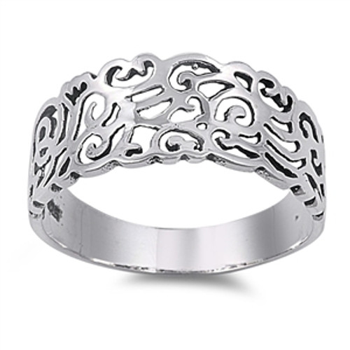 Sterling Silver Filigree Dress Wide Plus Size Ring