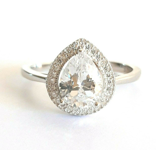 STERLING SILVER Tear Pear Halo CZ Statement Ring