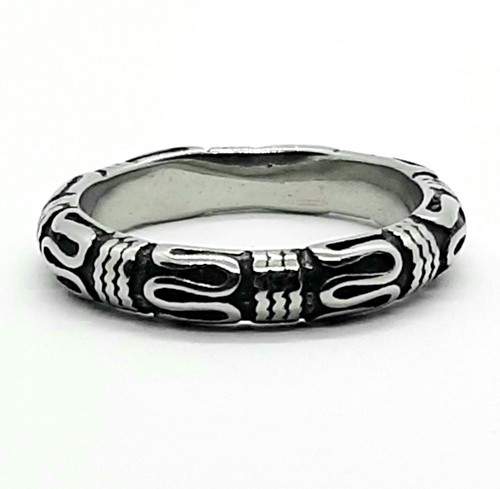 Silver Stainless Steel Boho Scroll Band Thumb Ring