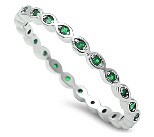 Sterling Silver 925 Emerald CZ Stackable Eternity Band Ring