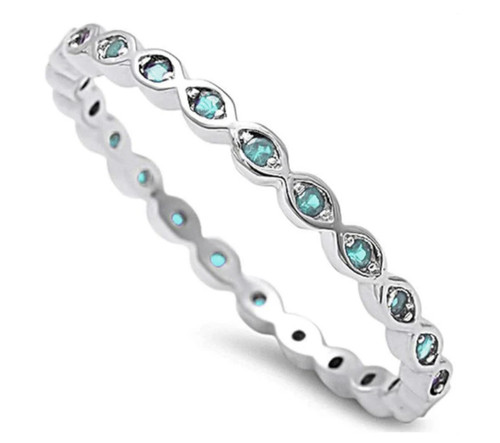 Sterling Silver 925 Aquamarine CZ Stackable Eternity Band Ring