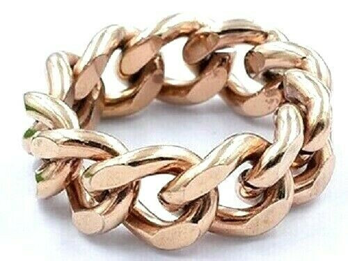 Rose Gold on 316 Steel Chunky Chain Link Wide Ring Plus Size