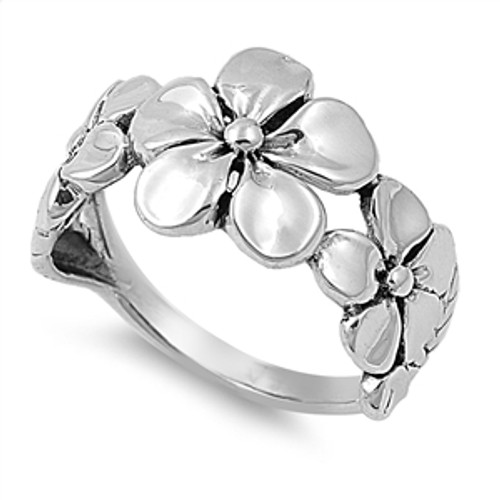 925 STERLING SILVER Plumeria 3 Flower Wide Plus Size Ring