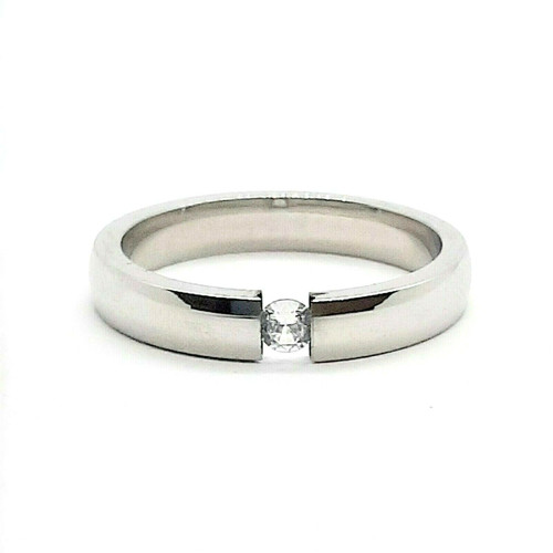 Silver Stainless Steel CZ Promise Wedding Ring 3mm Band