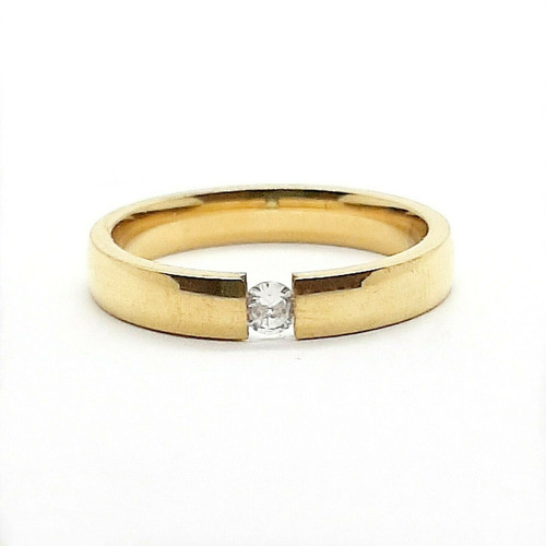 Gold on Stainless Steel CZ Promise Wedding Ring 3mm Band