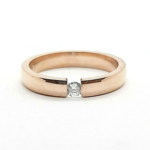 Rose Gold on 316 Steel CZ Promise Wedding Ring 3mm Band