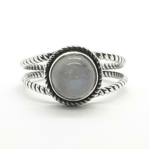 Sterling Silver Genuine Natural Moonstone Boho Dress Ring - Plus Sizes