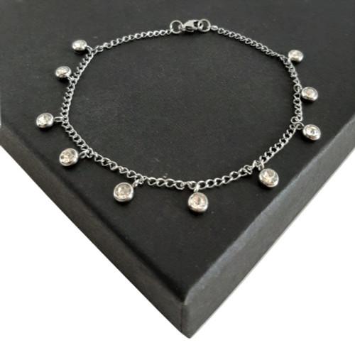 Customised Length Silver Steel CZ Drop Shaker Anklet or Bracelet