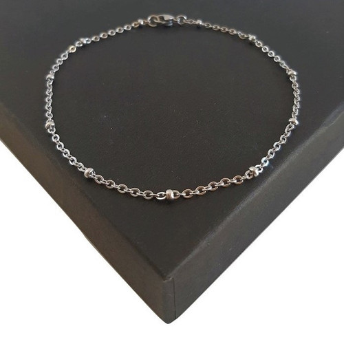 Custom Made Length Bobble Ball Anklet or Bracelet - Silver Stainless Steel