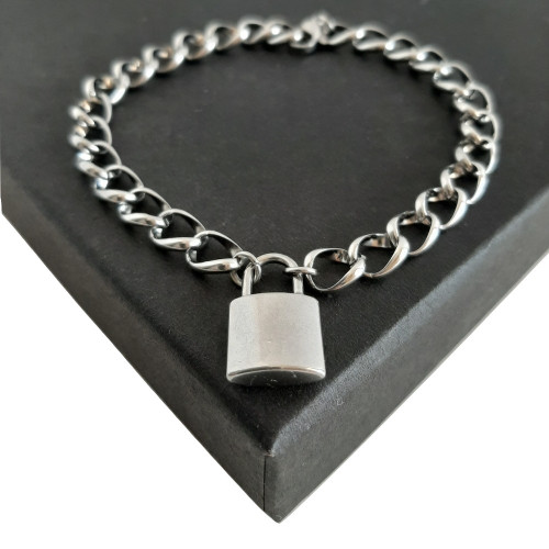 Custom Made Length Chunky Padlock Open Link Bracelet - Silver Stainless Steel
