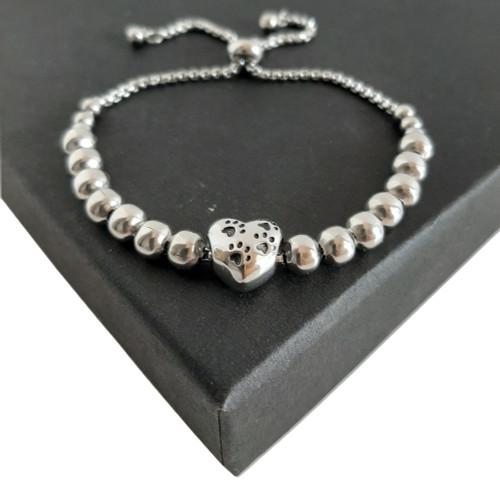 Adjustable Paw Print Puppy Bead Slider Bracelet - Silver Stainless Steel