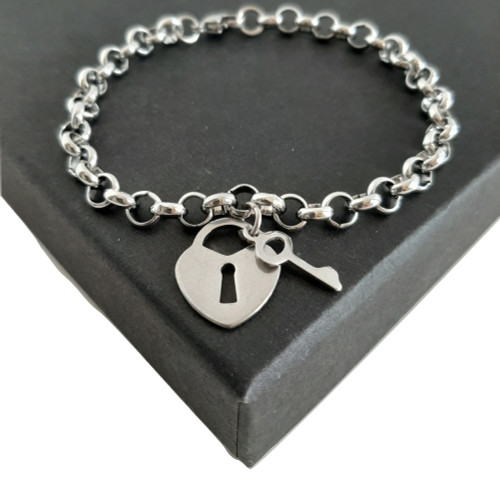Custom Made Length Love Heart and Key Bracelet - Silver Stainless Steel