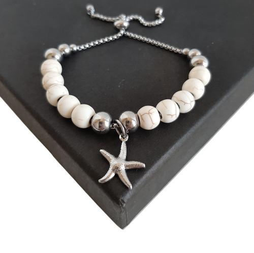 Hand Made White Turquoise Bead Expandable Slide Bracelet