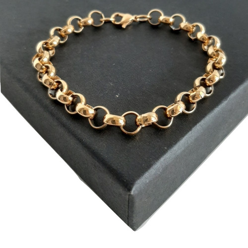 Custom Made length Gold on 316 Steel Rolo Belcher Bracelet