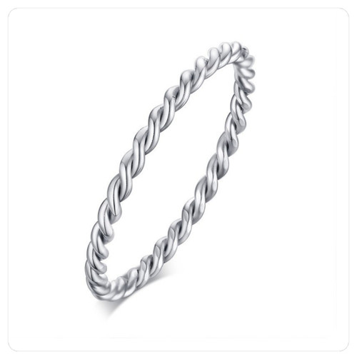 Silver Stainless Steel Twisted Midi Knuckle Pinky Twist Rings