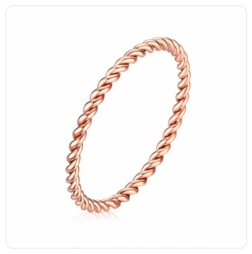 Rose Gold on 316 Steel Twisted Midi Knuckle Pinky Twist Ring