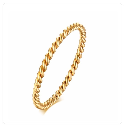 Gold on 316 Steel Twisted Midi Knuckle Pinky Twist Ring