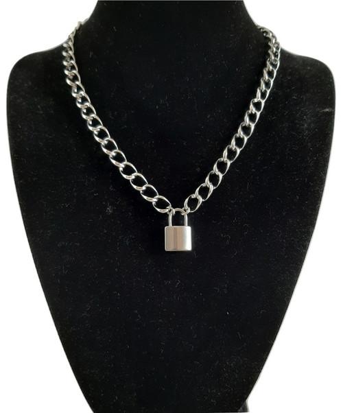Custom Made Length Chunky Padlock Open Link Necklace