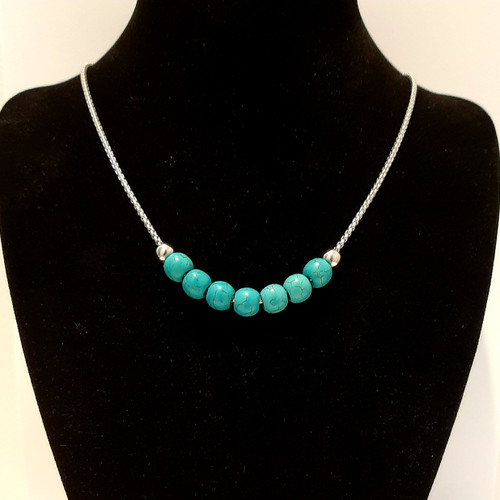 Hand Made Customised Blue Turquoise Bead Necklace
