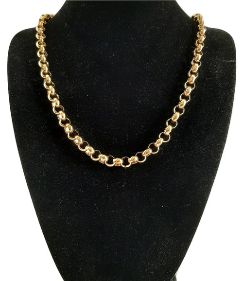 Custom Made length Gold on 316 Steel Rolo Necklace