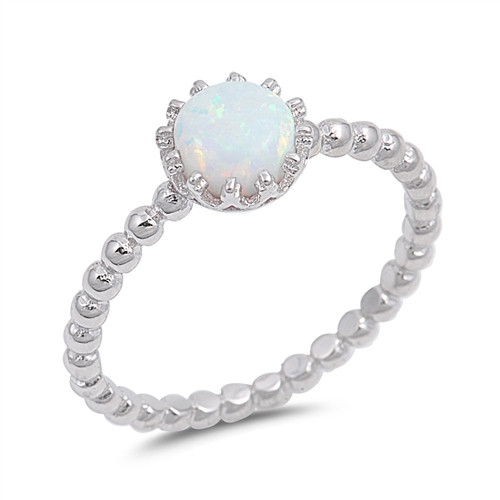 Sterling Silver White Opal Bubble Band Plus Size Ring