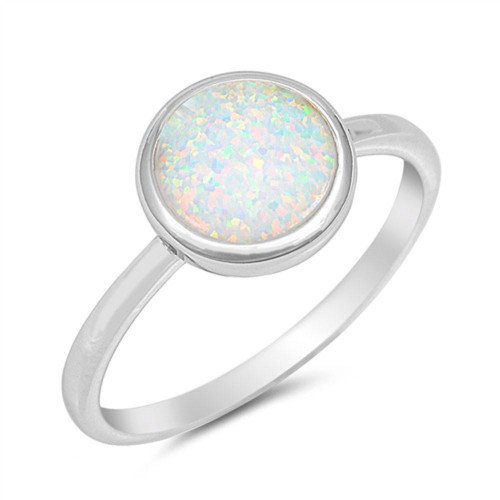 Sterling Silver Round White Lab Opal Minimalist Ring