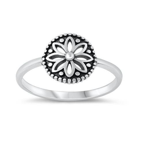 Sterling Silver Boho Mandala Plus Size Dress Ring