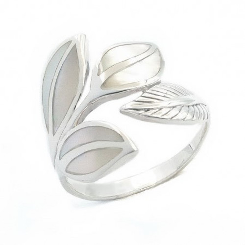 Sterling Silver Mother of Pearl Leaves Statement Ring
