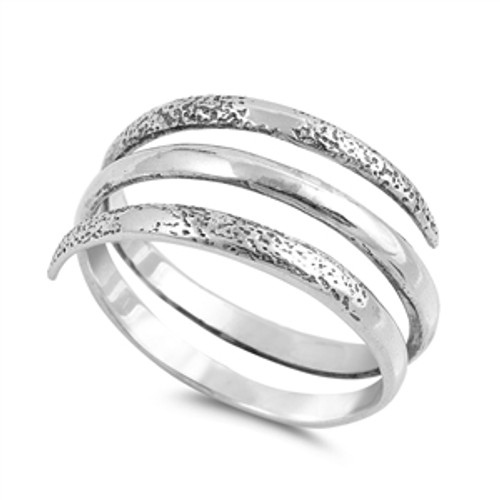 Sterling Silver Wide 3 Row Wrap Dress Ring