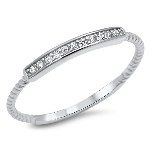 Sterling Silver CZ Bar Dainty Promise Dress Ring - Stackable