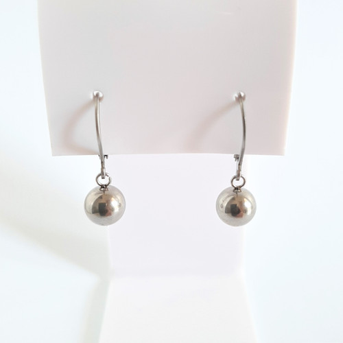 Silver 316 Steel Hypoallergenic Euro Ball Dangle Drop Earrings