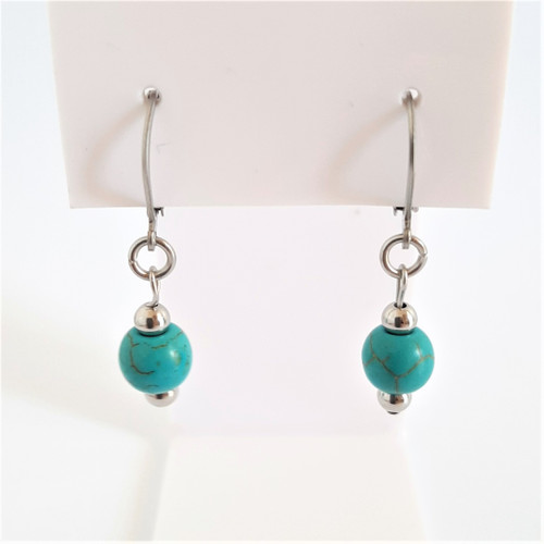 Silver 316 Steel Turquoise Euro Ball Dangle Drop Earrings
