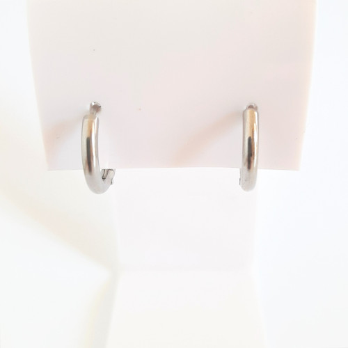 Silver Stainless Steel Hypoallergenic Huggies Small Hoop Earrings