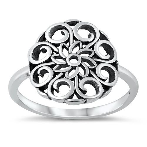 Sterling Silver Round Mandala Plus Size Statement Ring