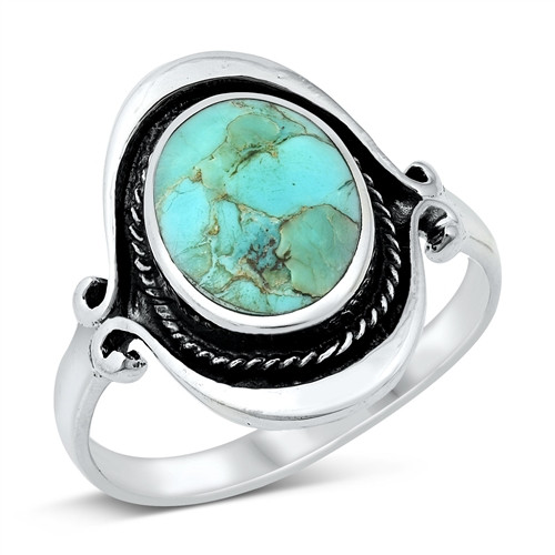 Sterling Silver Natural Turquoise Stone Statement Ring