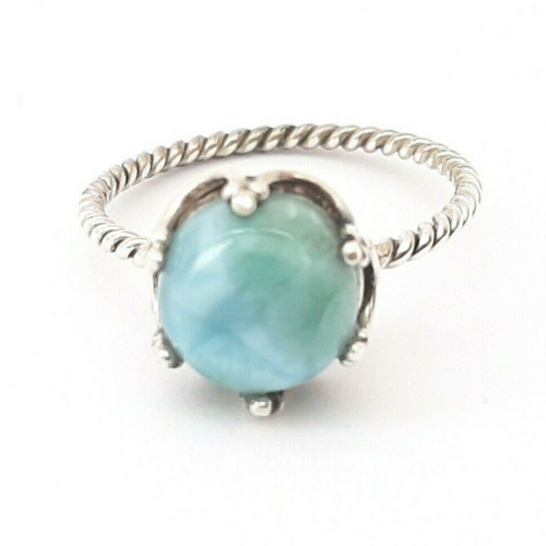 Sterling Silver Natural Larimar Stone Crown Ring