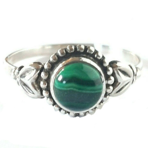 Sterling Silver Green Malachite Natural Stone Ring