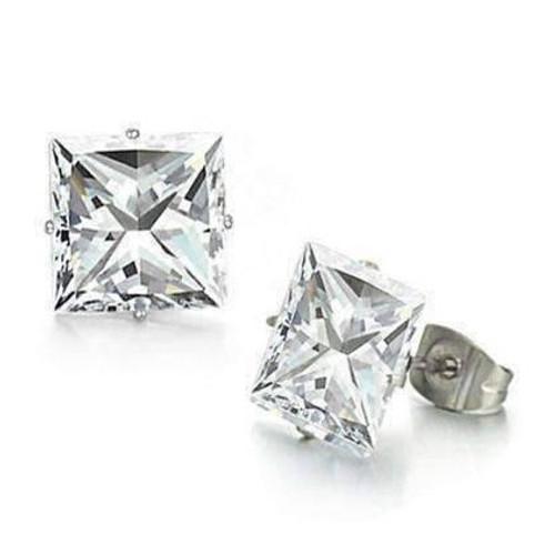 Silver Hypoallergenic 316 Steel Square CZ Stud Earrings
