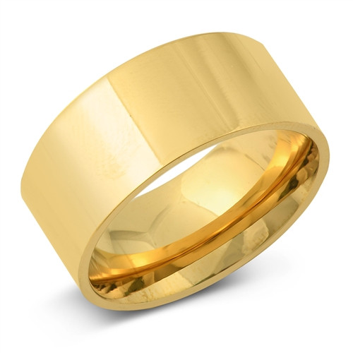 Gold over 316 Steel 10mm Wide Wedding Plain Band Ring