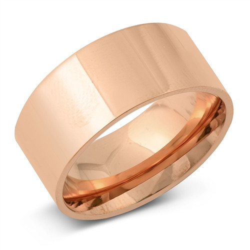 Rose Gold over 316 Steel 10mm Wide Plain Plus Size Band Ring