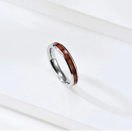 Silver Stainless Steel Wood Inlay Wedding 3mm Band Ring