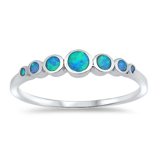 Sterling Silver Blue Simulated Opal 5 Stone Dress Ring