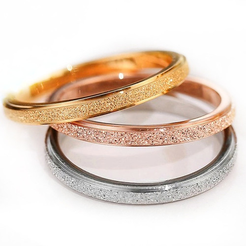 Yellow Rose Gold or Silver Stainless Steel Glitter Ring Bands