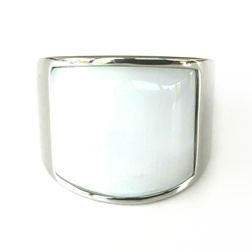 Silver Stainless Steel White Stone Statement Ring